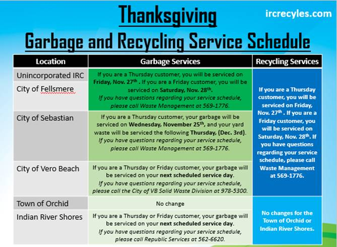 The 2020 Thanksgiving Garbage and Recycling Service Schedule
