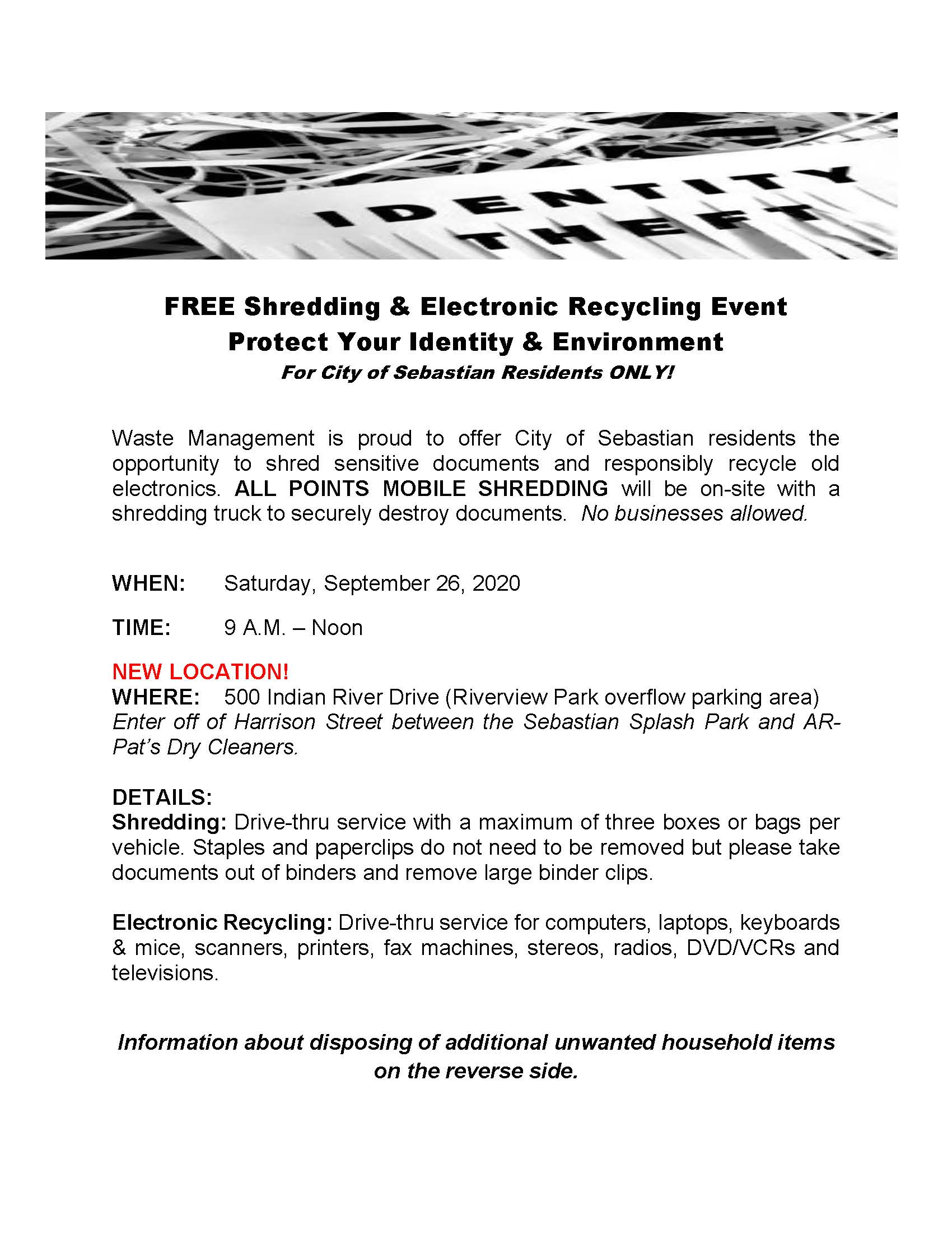 City of Sebastian Shredding event flyer.