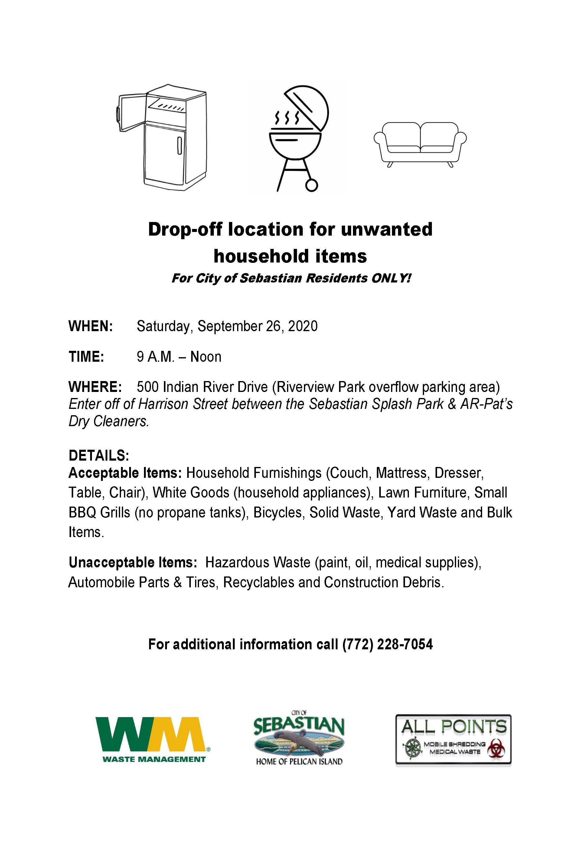 City of Sebastian Drop-off location for unwanted household items flyer.